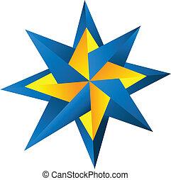 logo, kompas steg