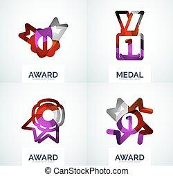 logo, komplet, barwny, nagroda, handlowy