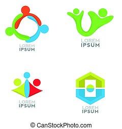 logo, komplet, handlowy
