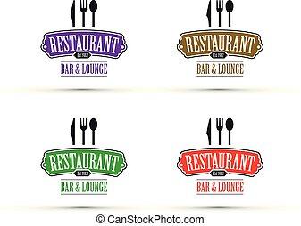logo, komplet, restauracja