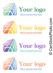 logo, komplet, zbiorowy, architektoniczny