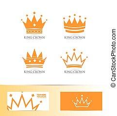 logo, koning, set, kroon, pictogram