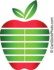 logo, konstruktion, æble, striber, element