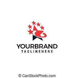 logo, konstruktion, stjerne, skabelon