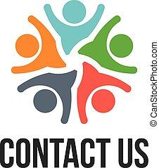 logo, kontakt, grupa, na, ludzie