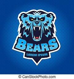 logo, kopf, emblem, bär, maskottchen