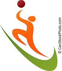 logo, koszykówka, /, ikona