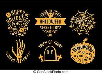 logo, krümmend, halloween, kürbise, glücklich