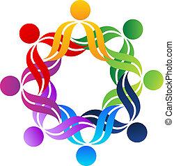 logo, kram, teamwork, folk
