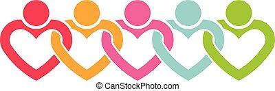 logo, kreska, hearts., ilustracja, ludzie