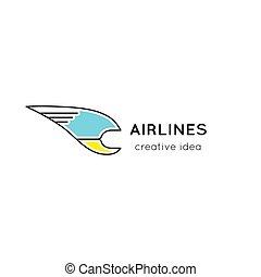 logo, kreska, linie lotnicze, szablon