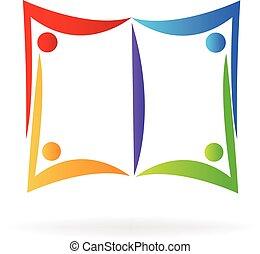 logo, książka, ludzie
