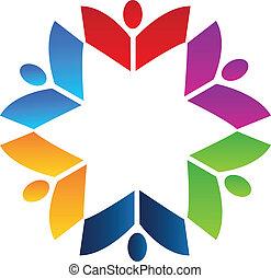 logo, książki, teamwork
