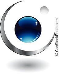 logo, kugel, 3d