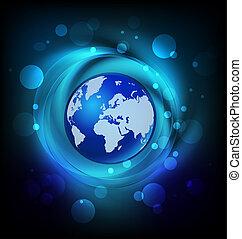 logo, kula, sieć, mapa
