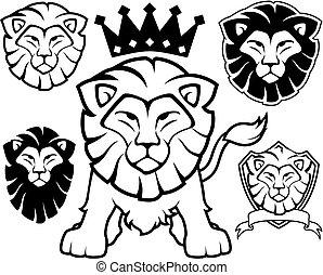 logo, löwe, vektor, ritterwappen, maskottchen