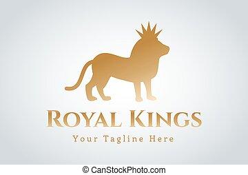 logo, løve, vektor, kongelige, silhuet