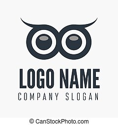 Logo or logotype element with owl for business, corporation or web