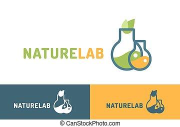 logo, laboratorium, ekologi, vektor