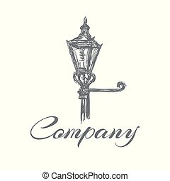 logo, lampe, rue, vieux