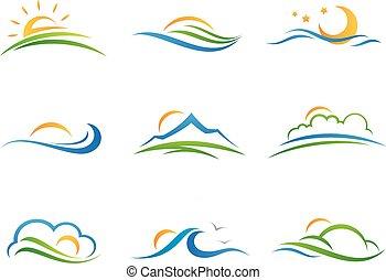 logo, landschaftsbild, ikone