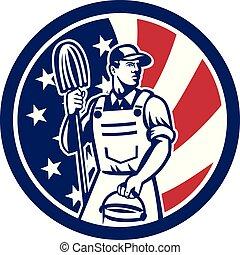 logo, lavette, nettoyeur, circ-usa-flag