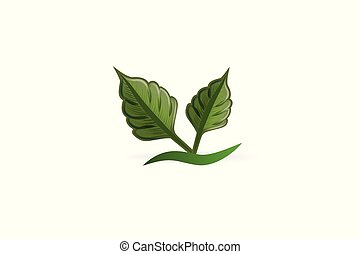 Logo leafs health nature business card