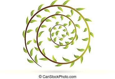Logo Leafs in a swirly shape icon