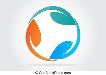 Logo leafs recycle symbol vector