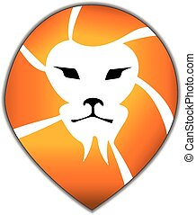 logo, leeuw, hoofd