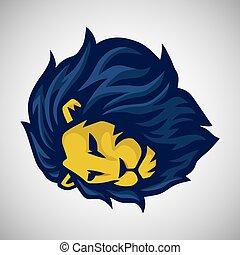 logo, leeuw, vector, mascotte