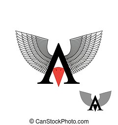 Logo letter A wings. Sign letter with beak bird. Vector illustration.