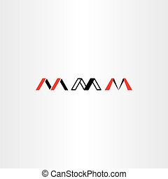 logo letter m set red black icon vector