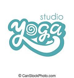 logo, lettering, yoga