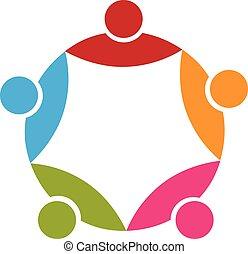logo, leute, 5, bunte, gemeinschaftsarbeit