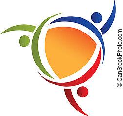 logo, leute, gemeinschaftsarbeit, swooshes