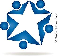 logo, leute, stern, gemeinschaftsarbeit