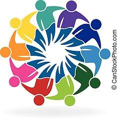 logo, leute, versammlung, geschaeftswelt, gemeinschaftsarbeit
