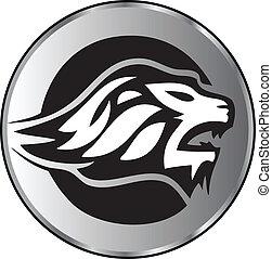 logo, lew, agresywny, twarz