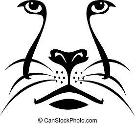 logo, lew, sylwetka, twarz