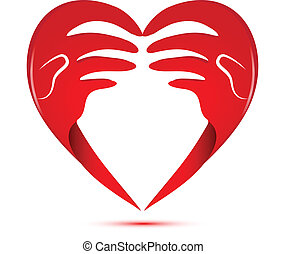 logo, liefde, handen