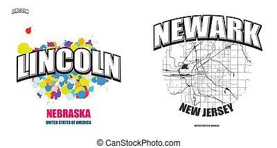 logo, lincoln, gestaltungsarbeiten, nebraska, zwei