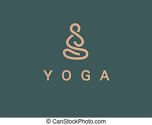 logo, lineair, pictogram, man, abstract, yoga