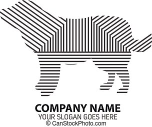 logo, linie, silhouette, hunde ikone