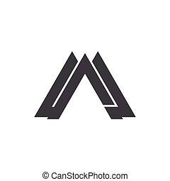 logo, litera, geometryczny, wektor, trójkąt