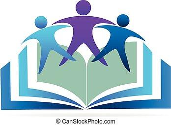 logo, livre, education