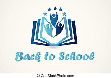 logo, livre, education, gens