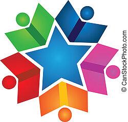 logo, livres, collaboration, coloré, étoiles