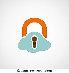 Logo lock as a cloud.