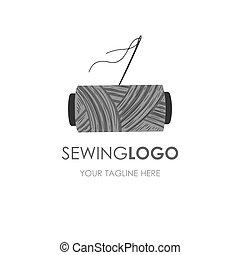 logo., logotype., cucito, artigianato, scatola, filo, cucire